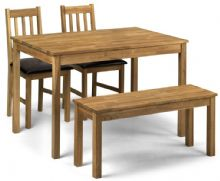 Catalina Oak & Brown Faux Leather Bench Dining Set